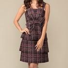 シーズ フロントリボン ティアードスカート バック編上げ ミディアムドレス ブラック×レッド