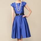 シーズ ウエストパール付ベルト サテン バック編上げ ミディアムドレス ブルー