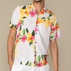 花柄 アロハシャツ ホワイト
