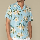 花柄 アロハシャツ ライトブルー