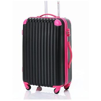 【8~14泊】Travel house 軽量 TSAロック付き 4輪 97L スーツケース ブラック&ローズ