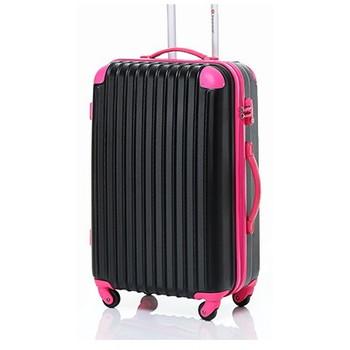 【4~7泊】Travel house 軽量 TSAロック付き 4輪 63L スーツケース ブラック&ローズ
