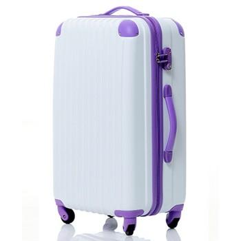 【8~14泊】Travel house 軽量 TSAロック付き 4輪 93L スーツケース ホワイト&パープル