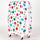 【4〜7泊】ラッキーパンダ 軽量 TSAロック付き 4輪 54L かわいい スーツケース ホワイト×水玉