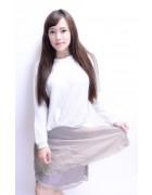 小松りな☆裏地刺繍付き薄手のスカート
