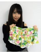 ☆結月こころ 直筆サイン入り南国花柄フリフリ短パン(白×緑×ピンク)☆