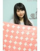 ☆結月こころ 直筆サイン入りドット柄バスタオル(ホワイト×ピンク)☆