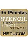 AFS stencil 5Fonts (ステンシル風 5書体セット)