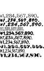 価格表示用数字書体セット