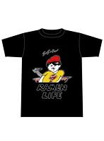 RAMEN LIFE Tシャツ 黒(赤・サイズL)