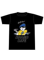 RAMEN LIFE Tシャツ 黒(青・サイズM)