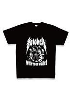 お前の財布でどこまでも go to hell Tシャツ(黒×白・サイズS)