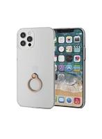iPhone12 iPhone12 Pro ケース カバー シェルケース ポリカーボネート 薄型 傷に強い リング スタンド 軽い シンプル ゴールド