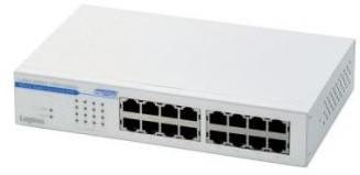 ロジテック ギガビットイーサHUB/16ポート/電源内蔵/メタル/50℃対応 LAN-GSW16P/HGW