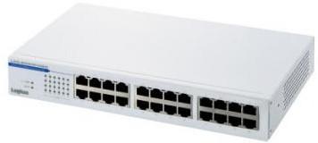 ロジテック ギガビットイーサHUB/24ポート/50℃対応/電源内蔵 LAN-SW24P/HGW