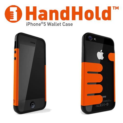 iPhone5/5s専用 マネークリップ機能付きケース Felix HandHold ブラック/オレンジ