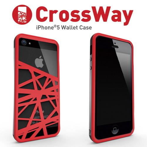 iPhone5/5s専用 マネークリップ機能付きケース Felix CrossWay ブラック/レッド