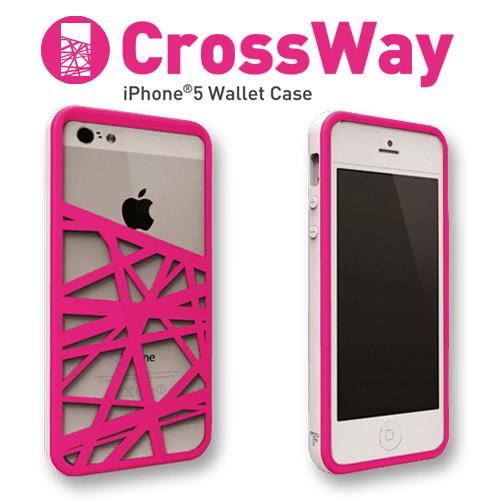 iPhone5/5s専用 マネークリップ機能付きケース Felix CrossWay ホワイト/ピンク