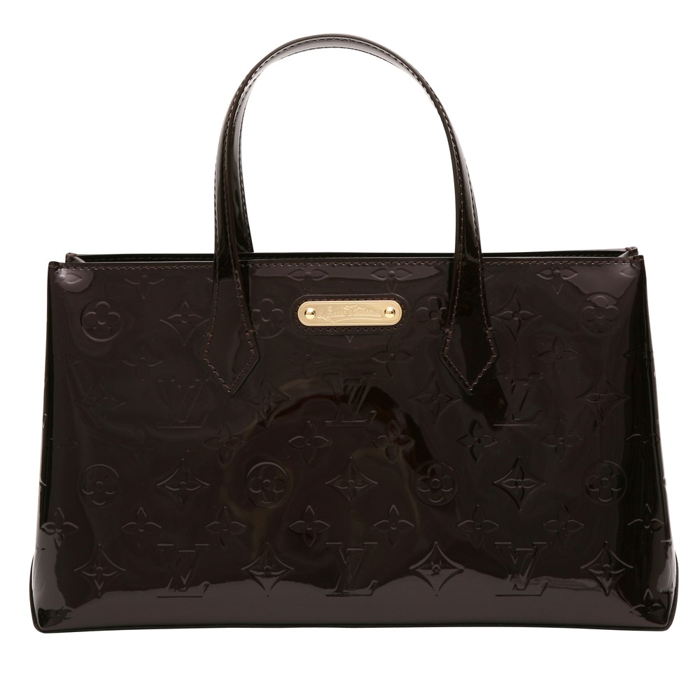レディースファッションレンタル、ハンドバッグ、バッグ、ブラウン ルイ・ヴィトン モノグラム・ヴェルニ ウィルシャーブルーバード PM ハンドバッグ ブラウン