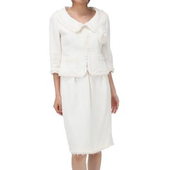 ルネ ツイード仕立て コサージュ付き スカートスーツ ホワイト