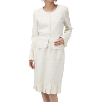 ルネ ツイード仕立て 裾プリーツ スカートスーツ ホワイト