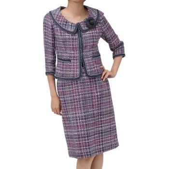 ルネ フェミニンチェック スカートスーツ ピンク