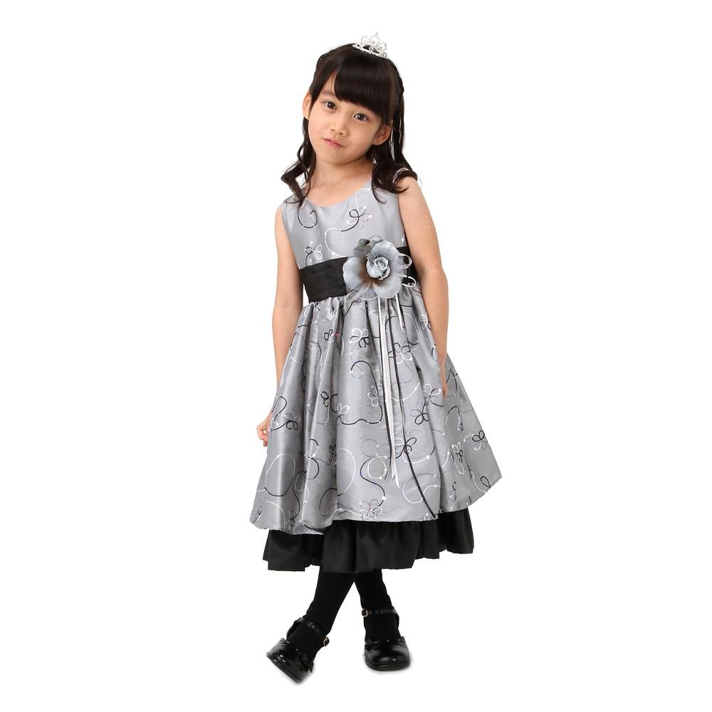 レディースファッションレンタル、ドレス、キッズ、グレー 【キッズ】 フラワーライン ロングドレス グレー