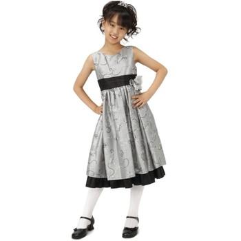 【ジュニア】 フラワーライン ロングドレス グレー