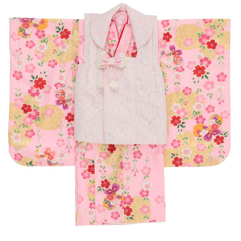 レディースファッションレンタル、七五三(3才)、キッズ、ピンク 【キッズ】七五三/節句 3才 被布セット 彩り 舞桜 ピンク