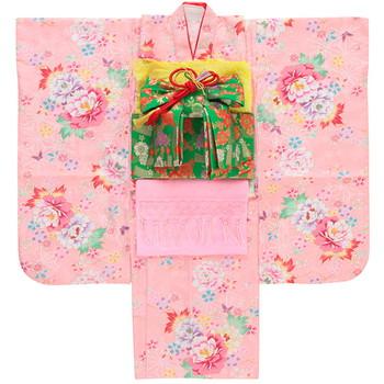 【キッズ】七五三/節句 7才 着物セット 柔らか 牡丹柄 ピンク