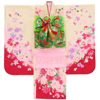 【キッズ】七五三/節句 7才 着物セット From KYOTO 可憐美 牡丹 ホワイト×レッド×ピンク