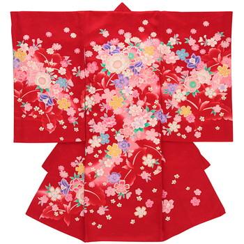 【女の子・お宮参り・産着レンタル6点フルセット】正絹 花柄模様 レッド