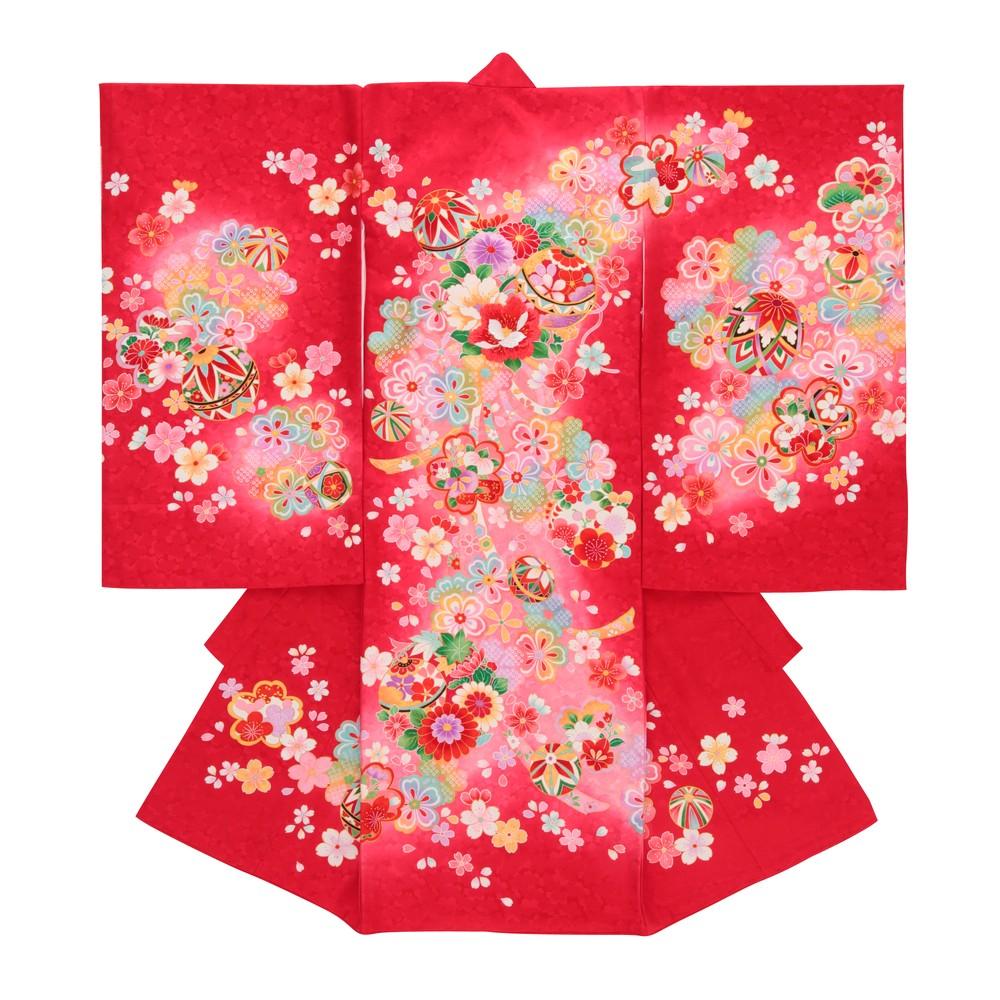 【女の子・お宮参り・産着レンタル6点フルセット】正絹 鞠 桜 レッド
