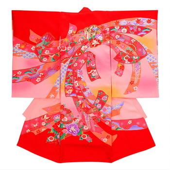 【女の子・お宮参り・産着レンタル6点フルセット】正絹 鞠 束ね熨斗 レッド