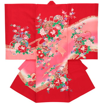 【女の子・お宮参り・産着レンタル6点フルセット】正絹 牡丹 満開 レッド