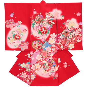 【女の子・お宮参り・産着レンタル6点フルセット】正絹 桜 短冊 レッド