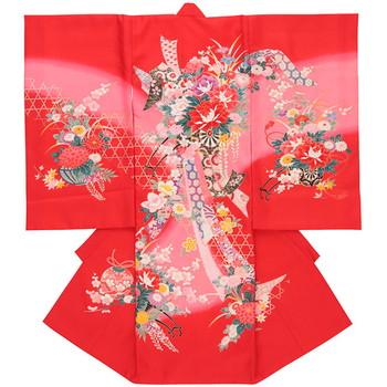 【女の子・お宮参り・産着レンタル6点フルセット】正絹 牡丹 花車 レッド
