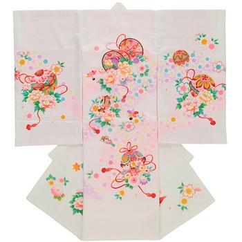 【女の子・お宮参り・産着レンタル6点フルセット】正絹 濃淡 花々 ピンク