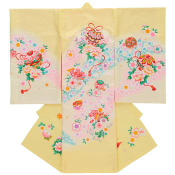 【女の子・お宮参り・産着レンタル6点フルセット】正絹 桜 鞠 イエロー