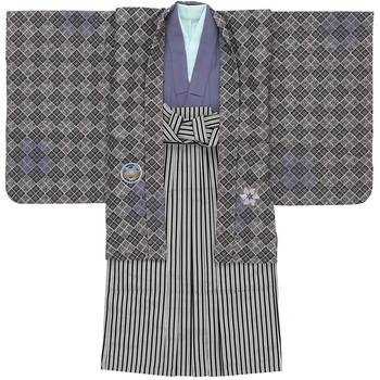 【キッズ】七五三/節句 5才 男児 袴セット モダン 紋章 グレー
