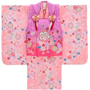 【キッズ】七五三/節句 3才 被布セット 桜模様 ピンク