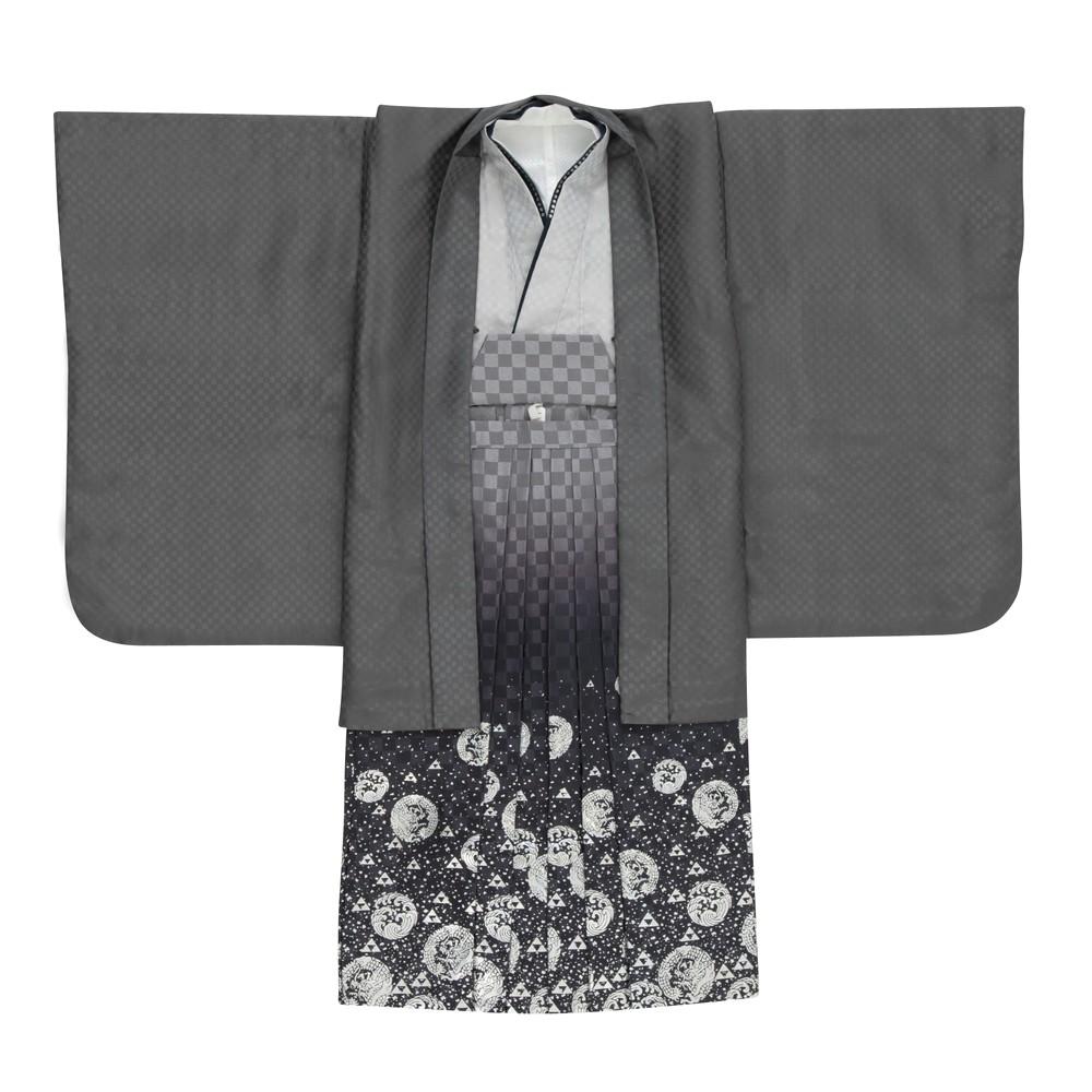 メンズファッションレンタル、七五三(5才)、キッズ、グレー 【キッズ】七五三/節句 5才 男児 袴セット 市松模様 グレー