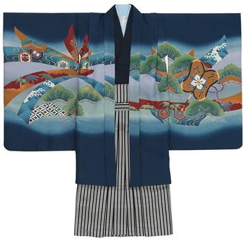 【キッズ】七五三/節句 5才 男児 袴セット 神々しい松 兜 ブルー