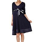 【授乳対応】マタニティドレス ベルト通し付き ネイビー