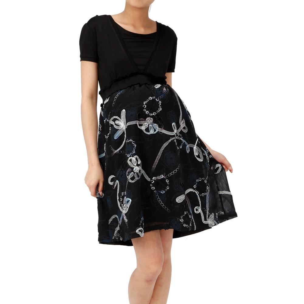 【授乳対応】マタニティドレス 刺繍ブルー ブラック