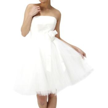 バラモチーフ付きベアトップドレス ホワイト