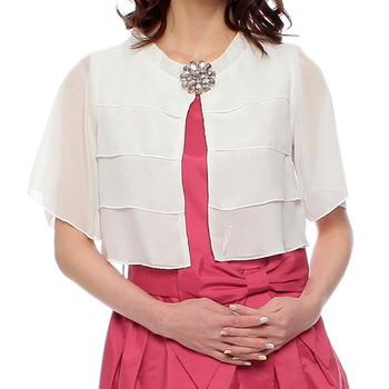 Girlstyle ブローチ付きティアードショートジャケット ホワイト