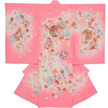 【女の子・お宮参り・産着レンタル6点フルセット】正絹 桜模様 金刺繍 ピンク