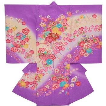 【女の子・お宮参り・産着レンタル6点フルセット】正絹 花々 毬 パープル