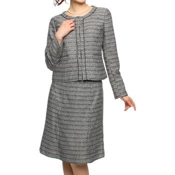 f-mode ツイード仕立て ノーカラー ベーシックタイプ スカートスーツ グレー